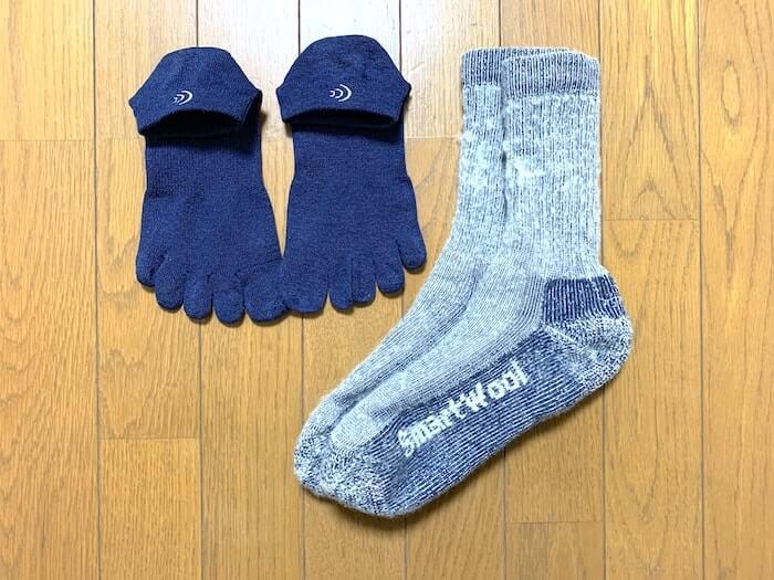 登山 靴下 二重 例