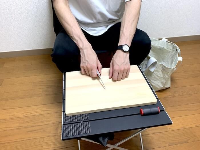 Linkax アルミ製アウトドアテーブル 高さ感2