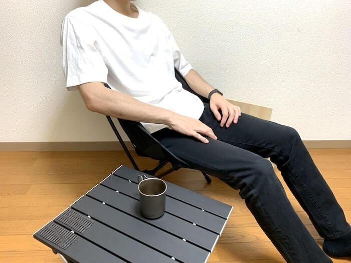 Linkax アルミ製アウトドアテーブル 高さ感1