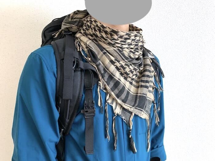 登山ファッション シュマグ アップ