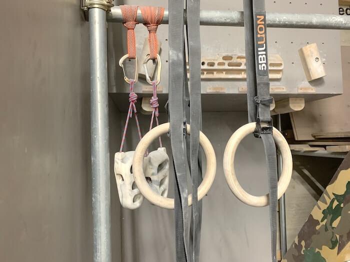 クライミングジム RISE トレーニングエリア メトリウス 吊り輪