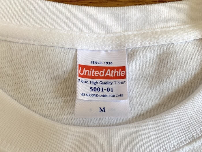 ユナイテッドアスレ 5.6ozハイクオリティーTシャツ タグ