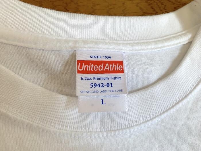 ユナイテッドアスレ 6.2ozプレミアムTシャツ タグ