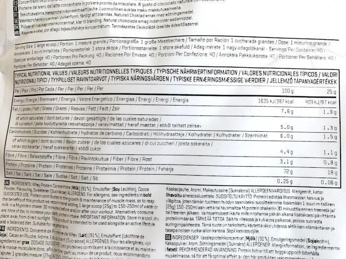 マイプロテイン ナチュラルチョコレート味 栄養成分